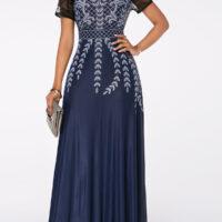 Lace Panel High Waist Printed Maxi Dress