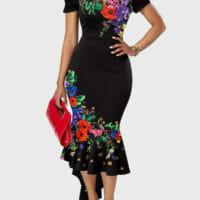 Asymmetric Hem Retro Flower Print Off the Shoulder Dress