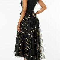 Sleeveless Embellished Neck Dip Hem Dress
