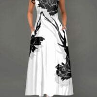 Zipper Back Sleeveless Flower Print White Dress