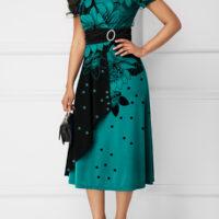 Printed Rhinestone Embellished Band Waist Dress