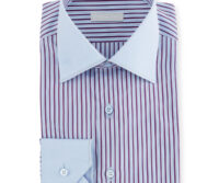 Men`s Wide Stripe Dress Shirt with Solid Trim