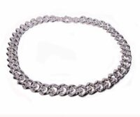 Gourmette necklace in empty silver