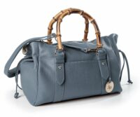 Mid-Century Modern Dollaro Leather & Genuine Bamboo Handbag  (B191)