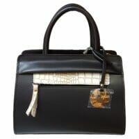 Mini Black Ruga Leather & Hair Calf Shoulder Bag (B138X)