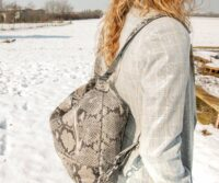 Python Leather Convertible Backpack-Tote (B290)