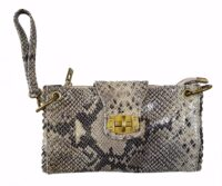 Python Leather Print Wrist Bag (B295)