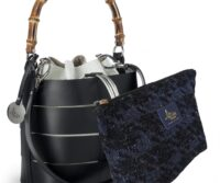 Ruga Leather Bucket Tote with Bamboo Handle (B49)