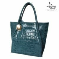 Mid-Size Croc Print Leather Tote (Style B5)