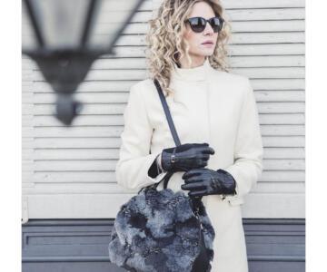Ruga Leather & Black Mantra Faux Fur Tote (B74)