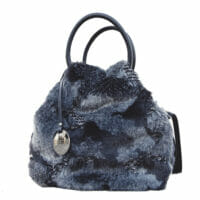 Ruga Leather & Black Mantra Faux Fur Tote (B74)