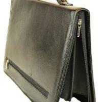 Luca Genuine Leather Folder with Door Handle Documents - Black