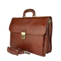 Pietro Professional Man Briefcase in Real Leather - Brown