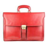 Antonio Professional Leather Briefcase for Men or Women - Red