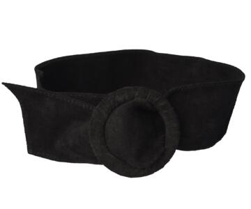 Woman Genuine Suede Leather Belt. Made in Italy - Black