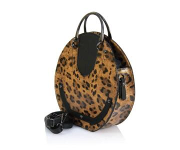 Mirabella - Genuine leather woman shoulder bag in leopard print - Leather
