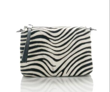 Lucia - Clutch shoulder bag in genuine leather and pony skin - zebrine