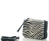 Lucia - Clutch shoulder bag in genuine leather and pony skin - zebrine