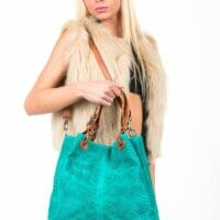 Babetta Snakeskin Embossed Suede Leather Handbag - TURQUOISE