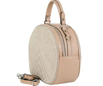 Toma Genuine Suede and Dollaro Leather Hatbox Bag - PINK