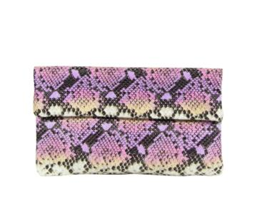 Oriella Snake Print Leather Foldover Clutch Bag - PINK