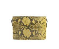 Chiara  Snake Print Genuine Suede Leather Shoulder Bag - BROWN