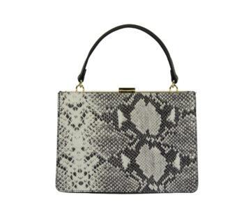Naike Genuine Leather Snake Print Hard Handbag - BROWN