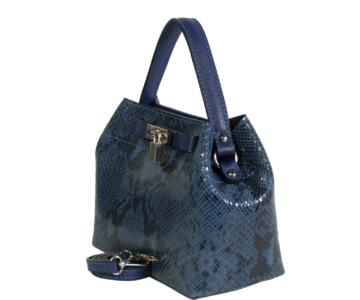 Teresa Genuine leather snake-embossed handbag - BLUE