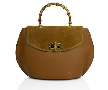 Olimpia  Wrinkle and Suede Leather Handbag with Bamboo Handle