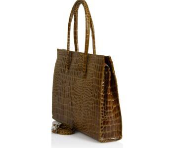Ricciarda ?rocodile / Python Embossed Leather Briefcase - COGNAC