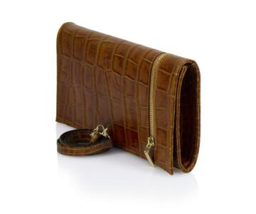 Doss Croco-embossed  Leather Clutch - COGNAC