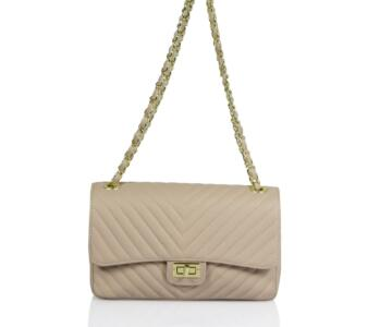 Americia Quilted Real Leather Shoulder Bag - PALE PINK