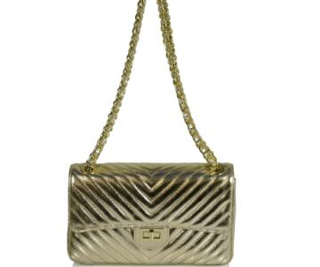 Americia Quilted Real Leather Shoulder Bag - GOLD METALLIC