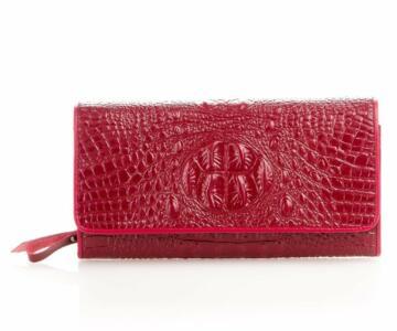 Pamela Wallet & Clutch Bag in Croc Print Leather - RED