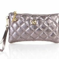 Violetta Clutch Bag in Quilted Leather - GOLD