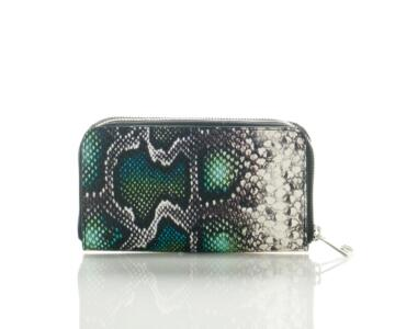 Lavanda-3 Genuine Python Print Leather Double Pocket Wallet - GREEN