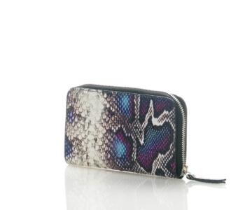 Lavanda-2 Wallet in Genuine Python Print Leather - GREY & BLUE
