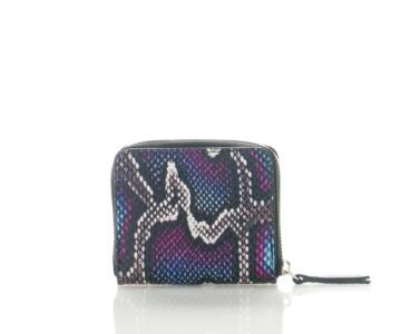 Lavanda-1 Small Wallet Python Print with Zip Opening - BLUE
