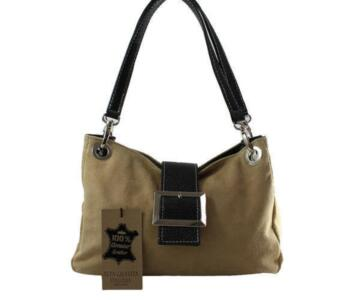 Zeta Genuine Suede Leather Bag - TAUPE