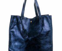 Emilia-2 Metallic genuine leather bag - BLUE