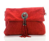 Titiana Genuine Suede Leather Bag - RED