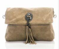 Titiana Genuine Suede Leather Bag - TAUPE