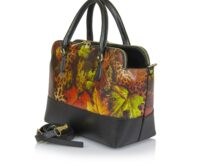 Tosca Large Shopper Genuine Leather Bag with 3 Compartments - PRINT LEAVES