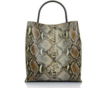 Simonetta Genuine Leather Shopper Bag in Crocodile Print. - TAUPE