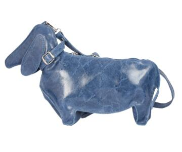 Caro Dog-shaped Genuine Leather Backpack - BLUE