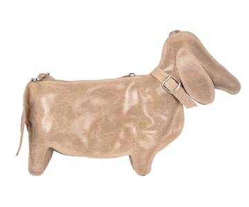 Caro Dog-shaped Genuine Leather Backpack - TAUPE