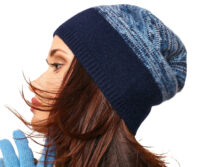 PORTOLANO Ladies Melange Slouchy Hat - Dark BLUE