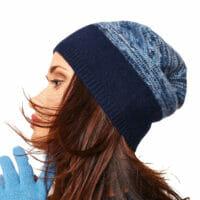 PORTOLANO Ladies Melange Slouchy Hat - Dark BLUE