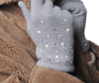 PORTOLANO Cashmere Gloves with Pearls and Studs - Light Grey