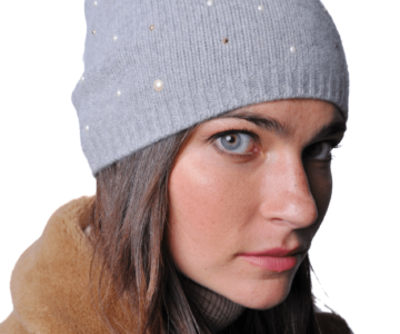 PORTOLANO Cashmere Hat with Pearls and Studs - Light Grey